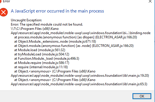 Windows 10 JavaScript Missing Module Error – Kano Help